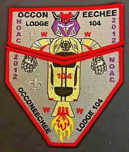 OCCONEECHEE-OA-104-LODGE-2012-NOAC-RED-BORDER-FLAP-2-PATCH-DELEGATE-TRANSFORMERS