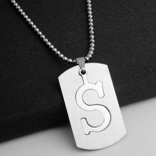 Acier Inoxydable Initiale Lettre Alphabet Dog Tag Collier Pendentif Pour Hommes Femmes