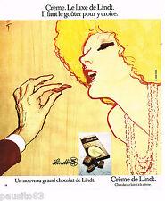 PUBLICITE ADVERTISING 065  1974  LINDT  chocolats par RENE GRUAU CREME
