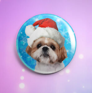 Image is loading Christmas-Shih-Tzu-Button-Pin-Badge-Xmas-Dog-
