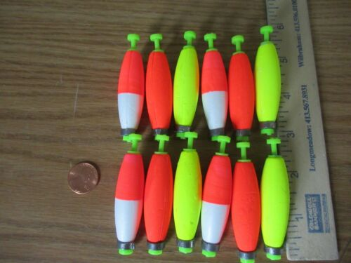 "12 2/"" FISHING BOBBERS Cigar Floats Assorted Weighted Foam Snap on Float"