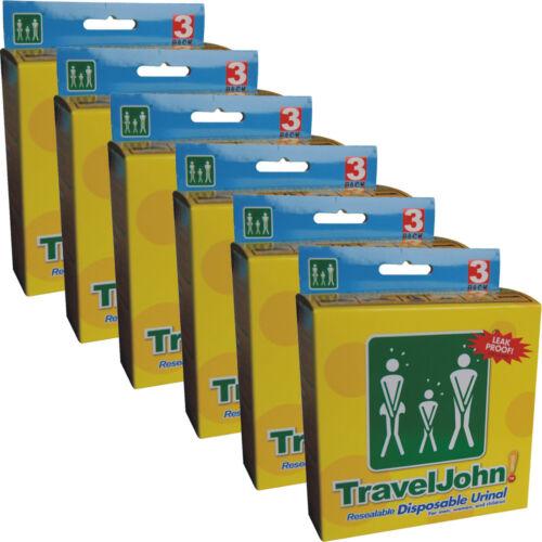 TravelJohn Travel John Disposable Resealable Urinal Wee Bags Unisex 3 Pack x 6