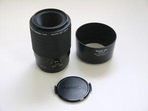 Mamiya-645af-120mm-f4-Macro-MF-Objektiv-Entscheidungstraeger-Bajonett-Gegenlichtblende-amp-Deckel