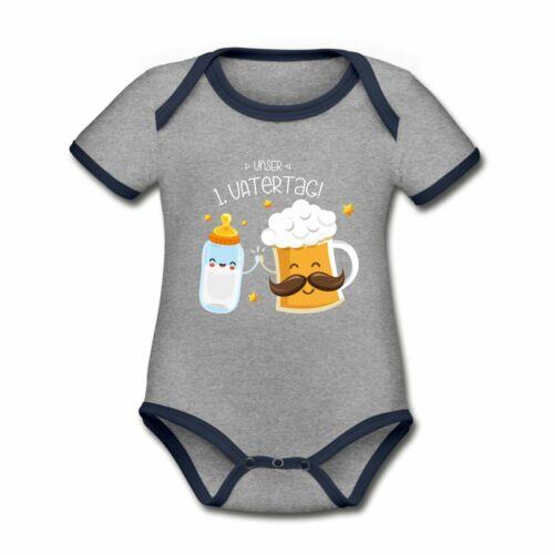 Vatertag Vatertagsgeschenk Baby Bio-Kontrast-Kurzarmbody Unser 1