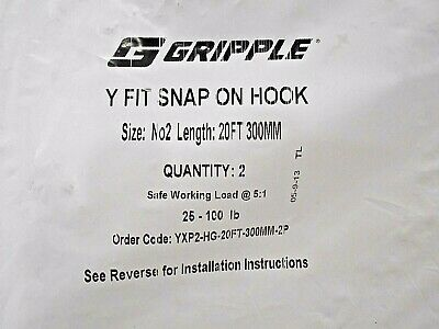 Twin Pack 15-100lb Safe Working Load 15ft Gripple Snap On Hook