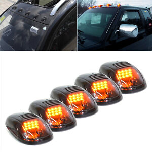 Luci-correnti-Marker-di-lente-fumo-Amber-LED-cabina-tetto-per-camion-pick-up-5pc