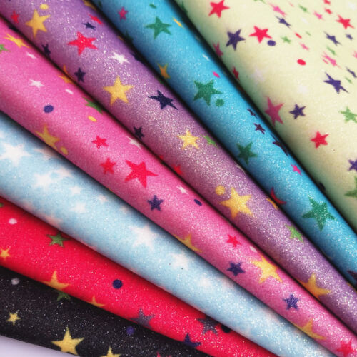 Stars Printed Fine Glitter Faux Leather Sparkly Fabric Bows Craft Sheets Roll