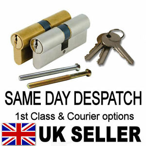 UPVC-aluminium-ANTI-DRILL-Euro-Cylinder-Door-LOCK-Barrel-BRASS-or-NICKEL-Finish