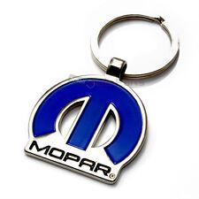 Mopar Logo Blue & Chrome Metal Key Chain for Dodge-Chrysler-Jeep Fans