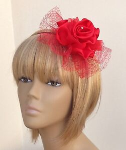 New-Bespoke-Red-Fascinator-HeadBand-Bridesmaid-Wedding-Guest-Prom-Night-Races