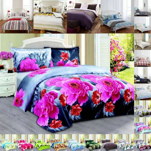 3D EFFECT BEDDING SET FLORAL ANIMAL PRINT DUVET COVER FITTED SHEET PILLOWS CASES