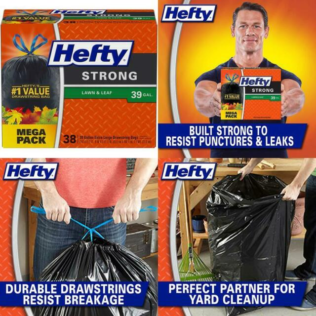 Pack of 1 38 Count Hefty Strong Lawn AND Leaf Trash Bags Original 39 Gallon