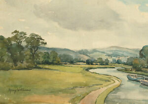 Mary-Williams-RWA-1911-2002-Watercolour-View-with-Water-Stream