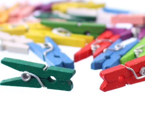 """Mixed Colors 100 Mini Clothespins 1/"""" Wooden Clips Wood Craft Clothes Pins"""