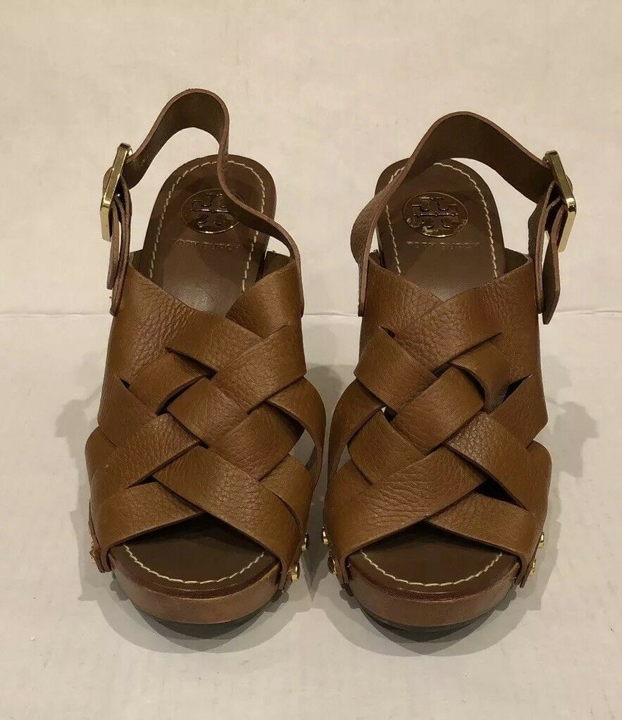 350 Tory Burch 8.5 Brown Woven Leather Chunky Wooden Platform Heel Jodie Sandal