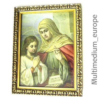 Historismus Heiligen Bild Original Rahmen Chromo Litho grapie Anna lehrt Maria