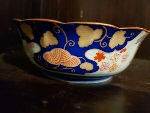 Vintage-JAPANESE-IMARI-ARITA-BLUE-amp-WHITE-PORCELAIN-Scalloped-BOWL-5-5-034-diameter