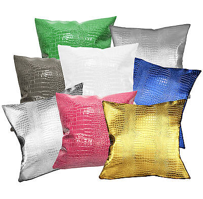 pd1021a Ash Silver Grey Faux Crocodile Glossy Leather Cushion Cover//Pillow Case