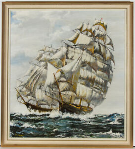 Clive-Knight-Signed-amp-Framed-Mid-20th-Century-Oil-Two-Ships-in-Sail