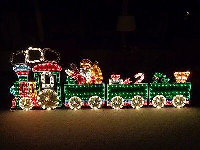4-Piece Holographic Lighted Motion Train Set Christmas Yard Art Decoration 8.5'