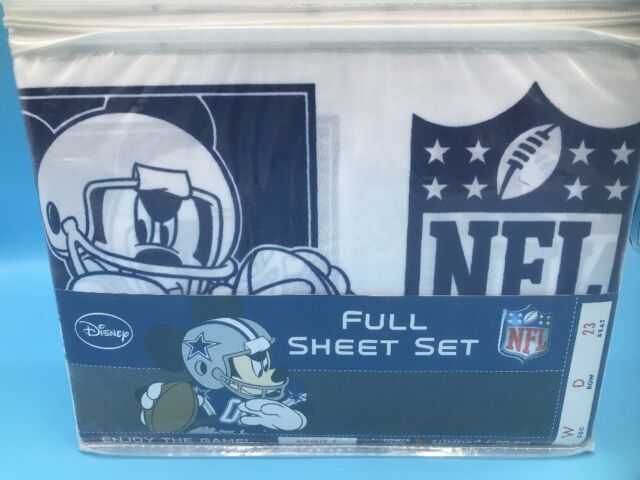 Disney Mickey Mouse NFL Full Sheet Set with Pillow Case Dallas Cowboys Blue NEW