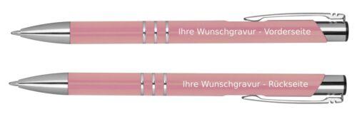 Kugelschreiber aus Metall mit beidseitige Gravur// Farbe rose/'