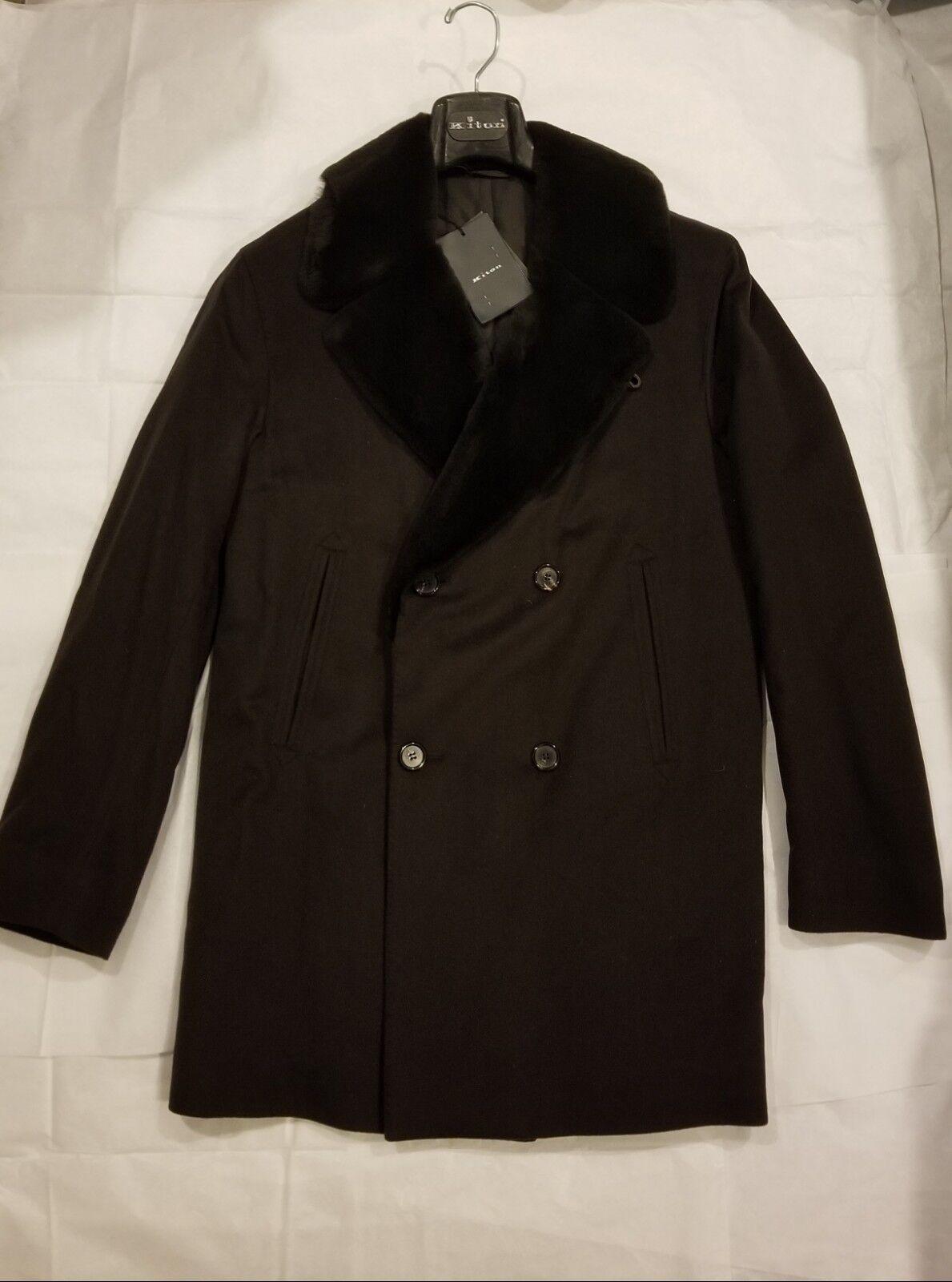 Brand New Kiton 100% Guanaco Coat with Beaver Fur Collar Größe 40 US