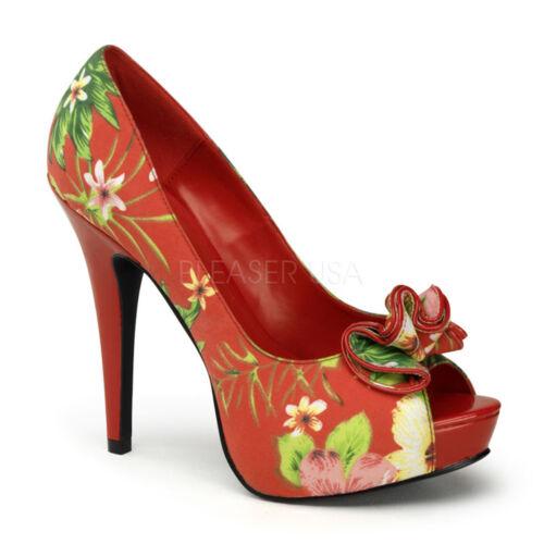 Pin Up Couture LOLITA-11 Platforms Hidden Red Floral Print Fabric Ruffled Heels