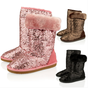 Kids Girls New Sequin Fur Warm Childerens Snug Pull On Winter Boots Shoes Size