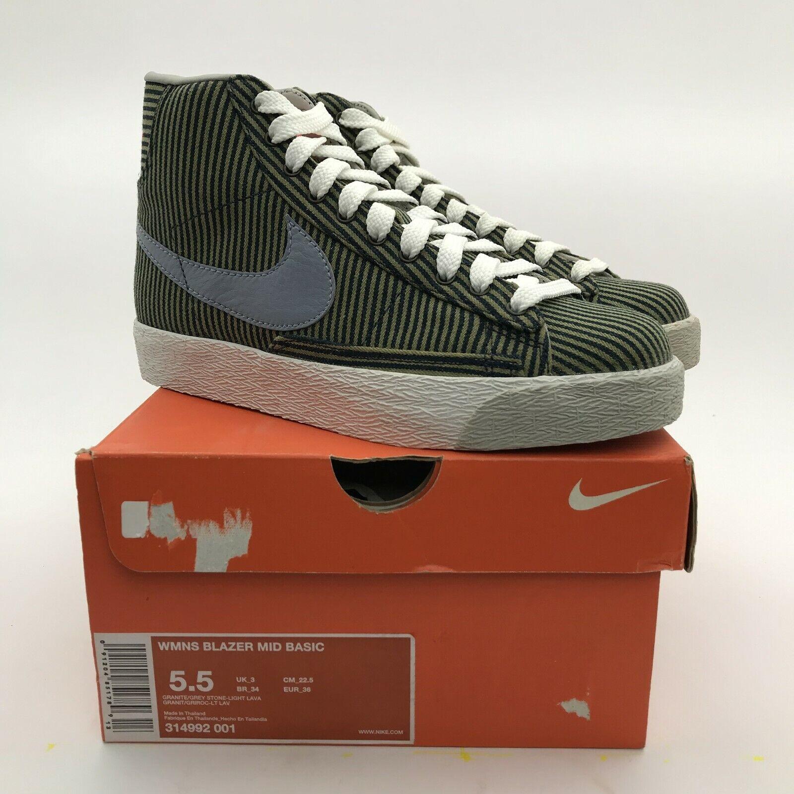Nike Women Blazer Mid Basic Pinstripe Graphite Grey 314992-001 sb NEW US 5.5