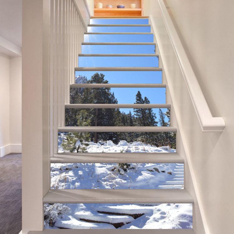 3D Schnee Ansicht 2 Stair Risers Dekoration Fototapete Vinyl Aufkleber Tapete DE