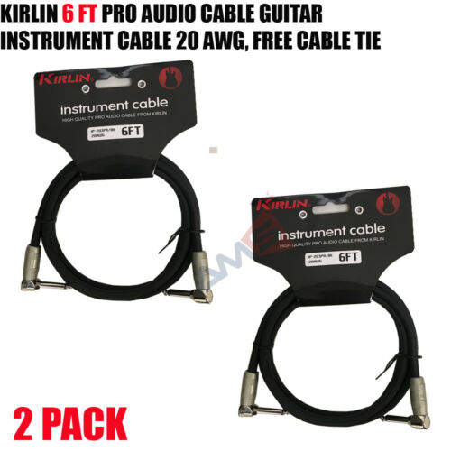 """2 PACK Kirlin 6 FT 1//4/"""" Mono Right-Angle Male//Male Guitar Instrument Cable NEW"""