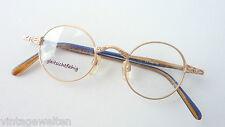 Verzierte Nickelbrille Antiklook gold Farb-Bügel runde kleine Glasform Selten