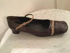 PRADA Brown Leather, Beige Accents Square Toe Flat Pump. Women Sz 40. Italy