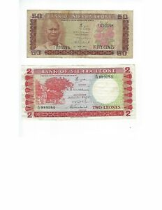 SIERRA-LEONE-50-CENTS-AND-2-LEONES-TWO-LEONE-NOTE-NICE-VF