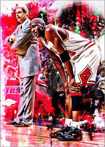 2021 Michael Jordan & Phil Jackson Basketball 22/25 Art ACEO Print Card By:Q