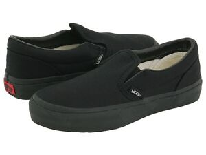 Vans All Black Classic Slip On Mens Womens Canvas Shoes All Sizes ...