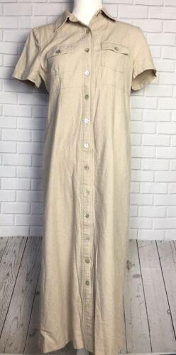 Carolina Colours Vintage Dress Size 8 Linen Oatmea