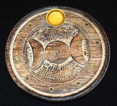 Räucherstäbchen Halter Räucherkegelhalter Holz Teller Göttin Monde Pentagramm