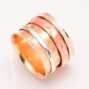 Solid-Copper-Band-amp-925-Sterling-Silver-Meditation-Spinner-Ring-All-Size-UK-129