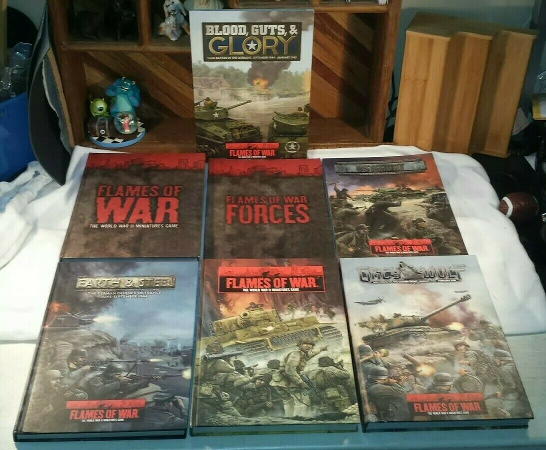 Flames of War World War II Miniature Game - Hardcover   Softcover Book Lot of 7