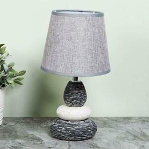 Grey Pebble Table Lamp With Grey Shade