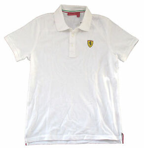 Ferrari-Classic-SF-034-Crest-Logo-034-White-Adult-Polo-Shirt-Official-Licensed-F1