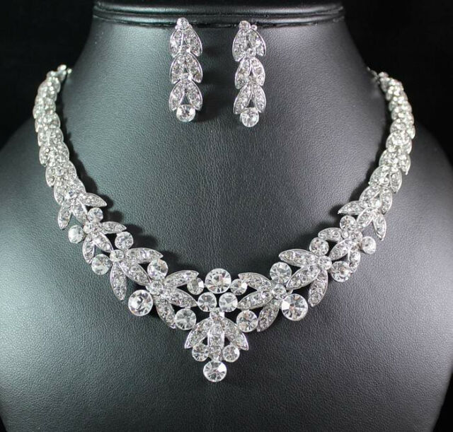 FLORAL CLEAR AUSTRIAN RHINESTONE CRYSTAL NECKLACE EARRINGS SET BRIDAL PROM N1601