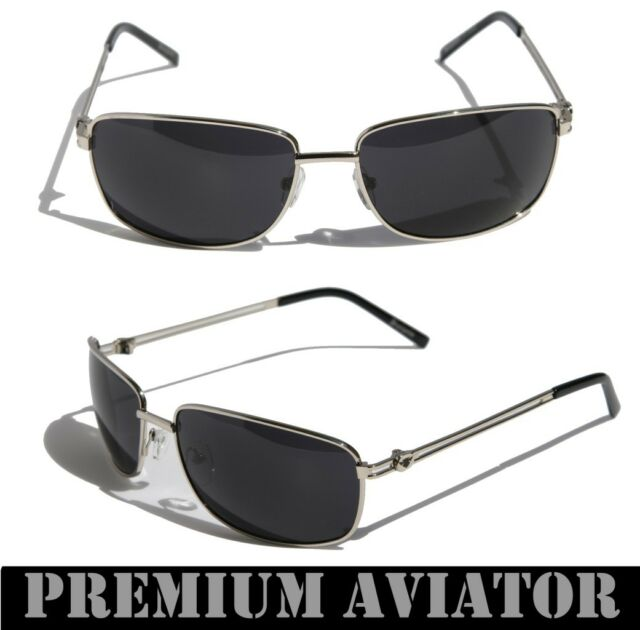 Mens Premium Rectangle Aviator Sunglasses Black Lens Silver Metal ...