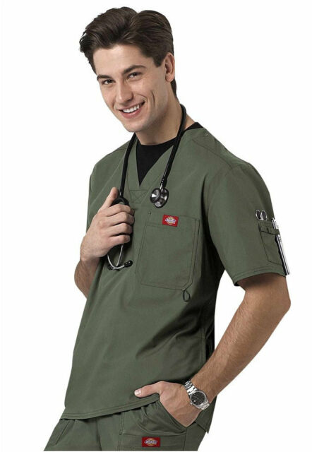 Dickies Medical Gen Flex Olive Men's Utility Top Sz S-XXL NWT
