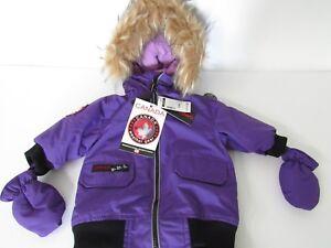 31db0c1d4 Infant Girls CANADA Weather Gear Purple Black Full Body Snowsuit ...