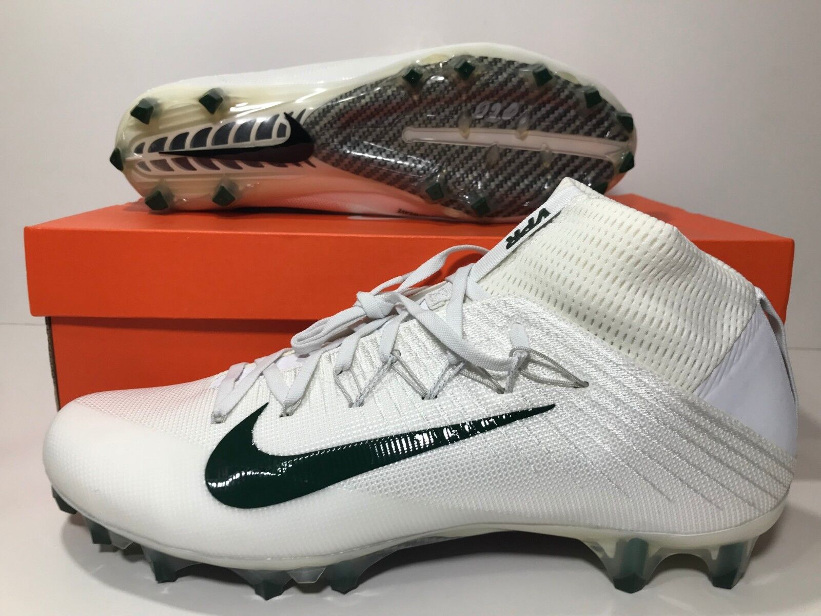 435b77e1d512 Nike Vapor Untouchable 2 Football Cleats Men's Size 12.5 White Green  924113-105