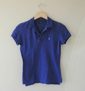 Women-039-s-Ralph-Lauren-The-Skinny-Polo-Royal-Blue-Shirt-Size-XS