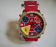 Simon & Co Silver/Gold Finish CZ Bezel 5 Time Zone Men's Large Fashion Watch